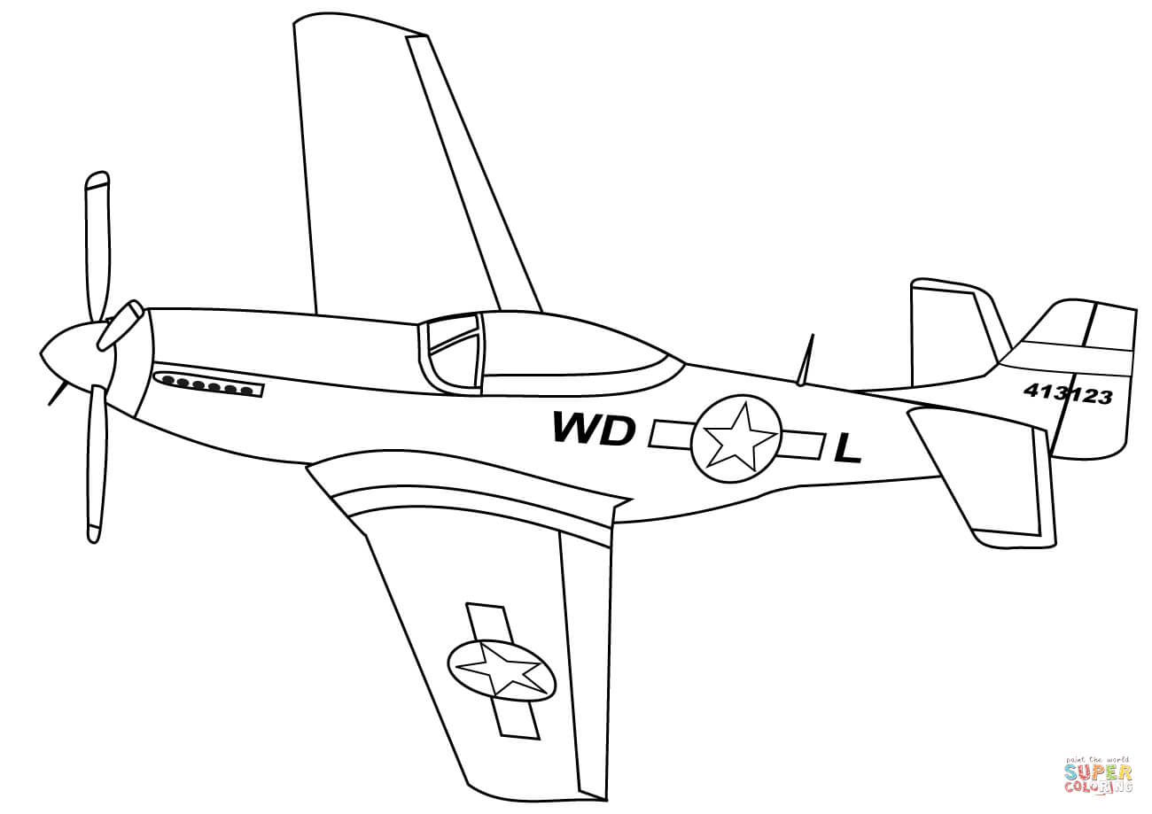 1300x919 P 51 Mustang Coloring Page Free Printable Coloring Pages