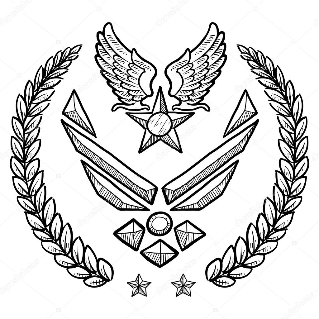 1024x1024 Us Air Force Military Insignia Stock Vector Lhfgraphics