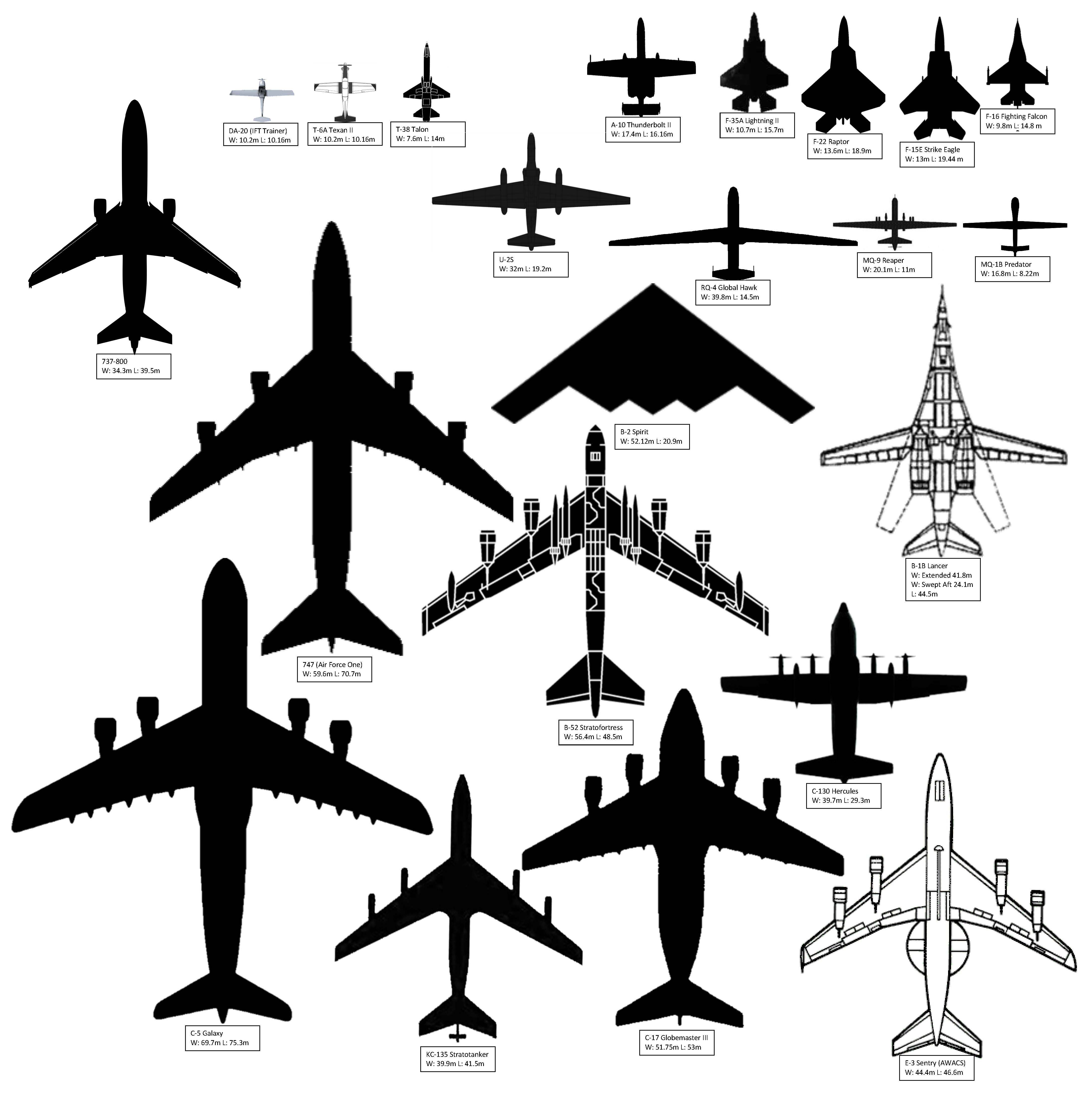 4378x4400 Aircraft Sizes Air Force Journey