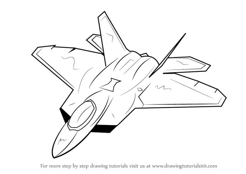 800x566 Learn How To Draw Lockheed Martin F 22 Raptor (Fighter Jets) Step