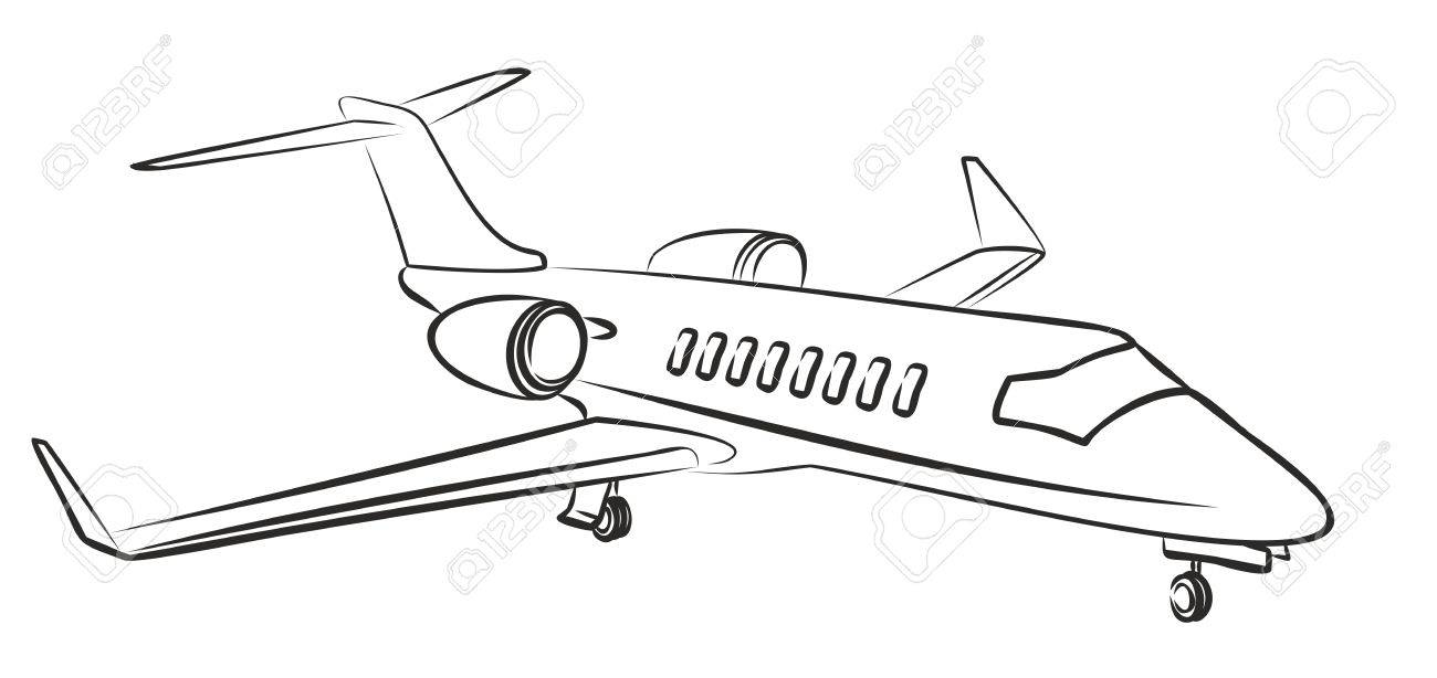 1300x614 Sketch Passenger Aircraft. Royalty Free Cliparts, Vectors,