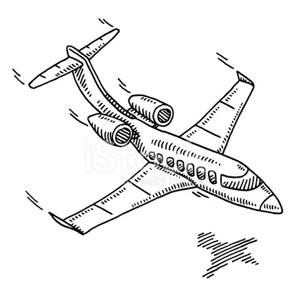 440x440 Business Travel Aircraft Drawing Stock Vector