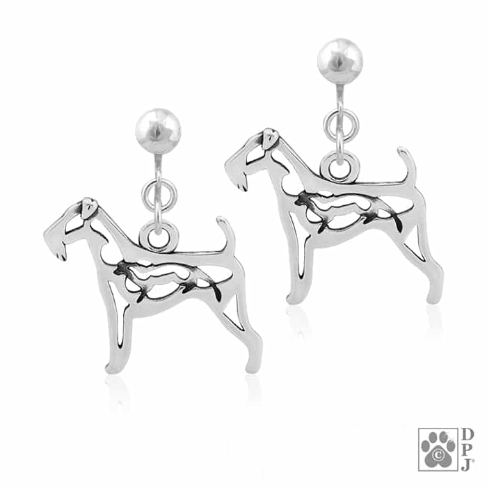 700x700 Airedale Earrings, Sterling Silver Airedale Terrier Earrings