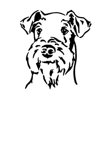 338x450 Car Sticker Airedale Terrier Head Item