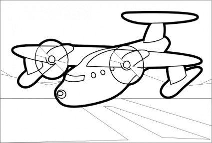 425x287 Outline Drawing Cartoon Airplane Plane Aircraft Aeroplane Clip