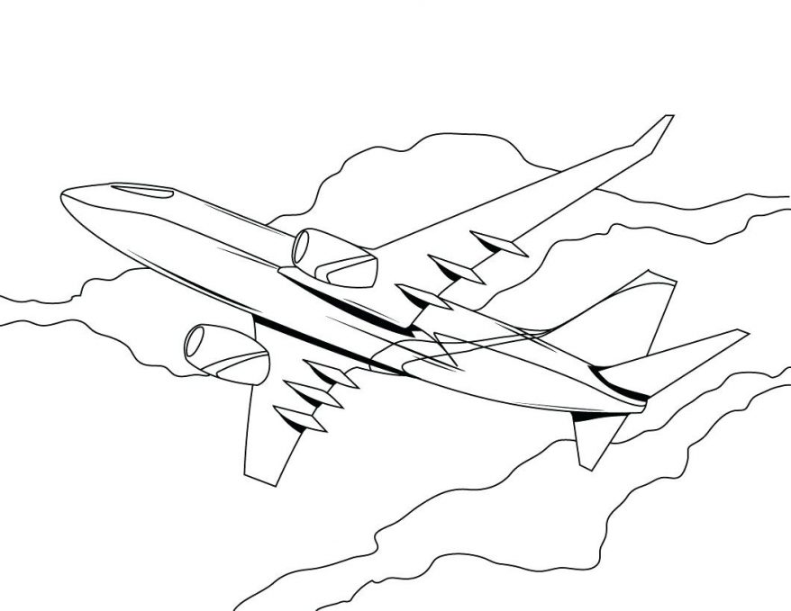 878x679 Pin Drawn Airplane Colouring Page 110 Wonderful Coloring Picture