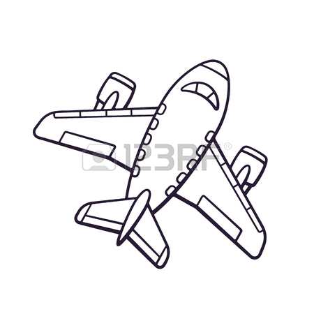 450x450 Vector Illustration. Hand Drawn Doodle Of Toy Plane. Travel By