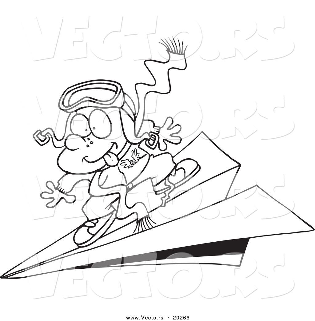 1024x1044 Vector Of A Cartoon Pilot Boy Flying On A Paper Plane