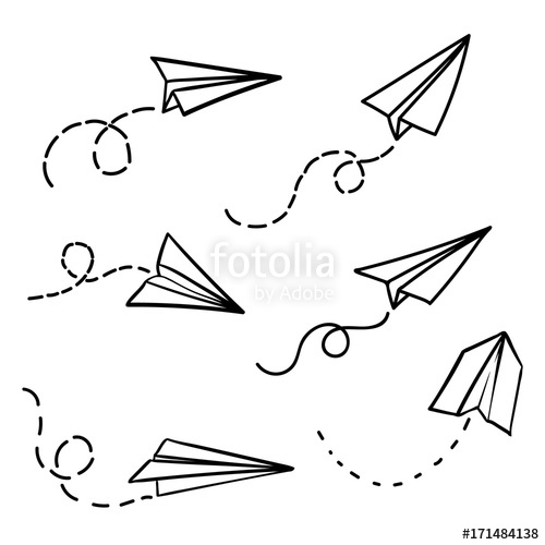 500x500 Vector Paper Airplane Travel Route Symbol Set Of