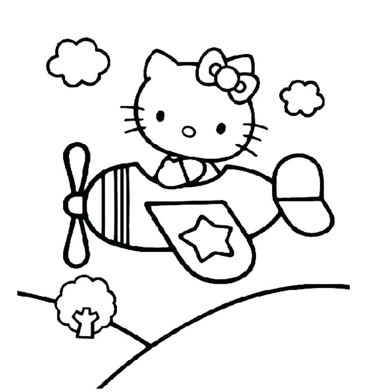 750x800 Airplane Color Pages Airplane Coloring Page Hello Kitty Airplane