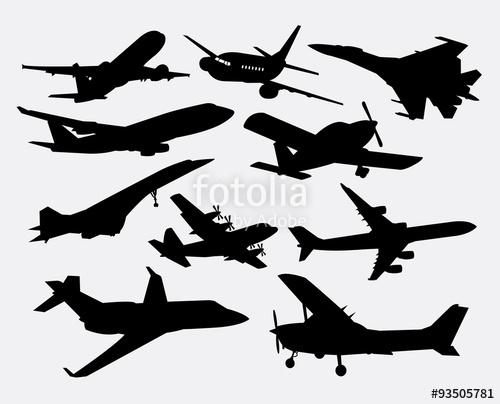 500x404 Airplane Transportation Silhouettes. Good Use For Symbol, Logo