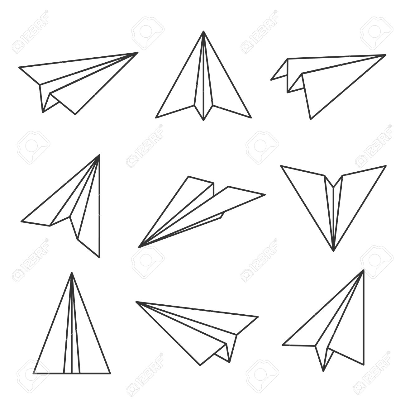 1300x1300 Paper Plane Outline. Glider, Made Out Of Folded Paper, Toy