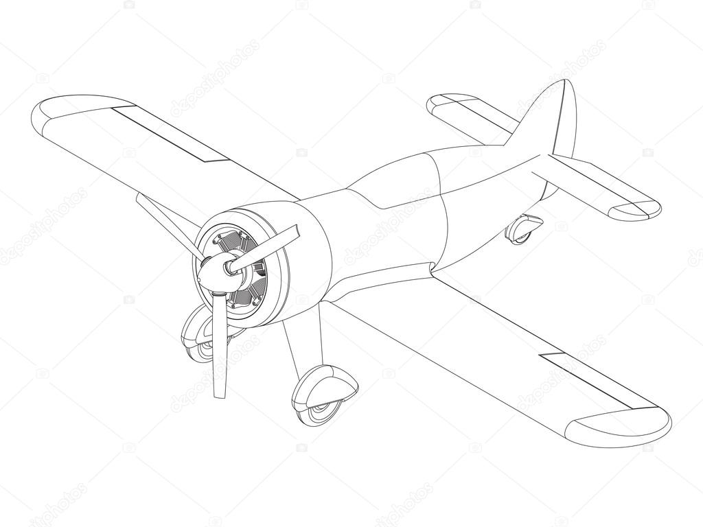 1024x768 Vector Isolated Propeller Plane Drawing Stock Vector