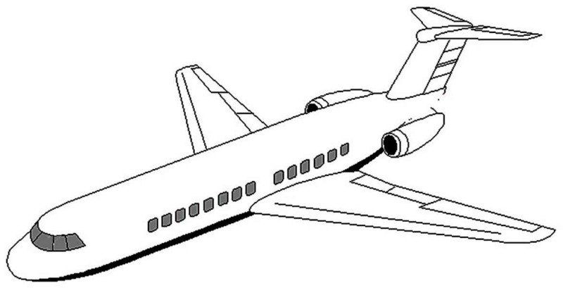 800x409 Plane Coloring Pages