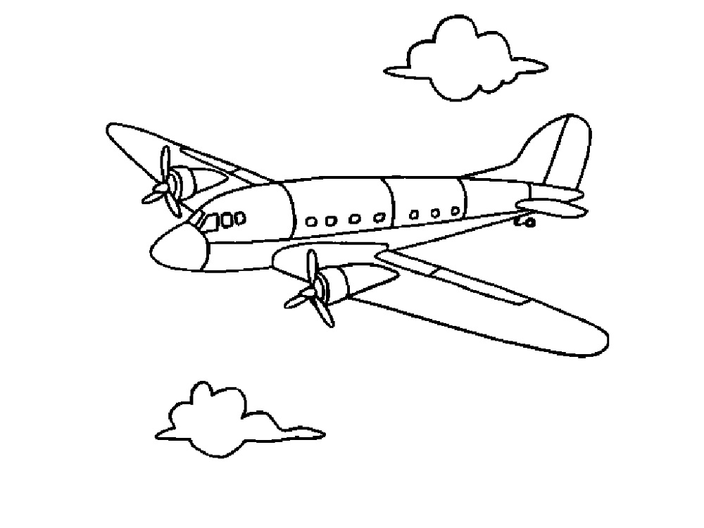1000x750 Airplane Colouring Sheets Learning Printable