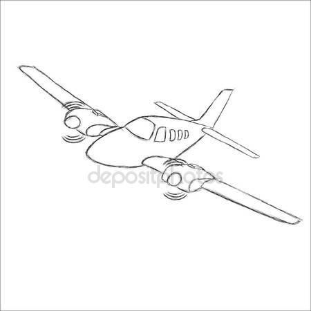 450x450 Small Plane Vector Sketch. Hand Drawn Twin Engine Propelled