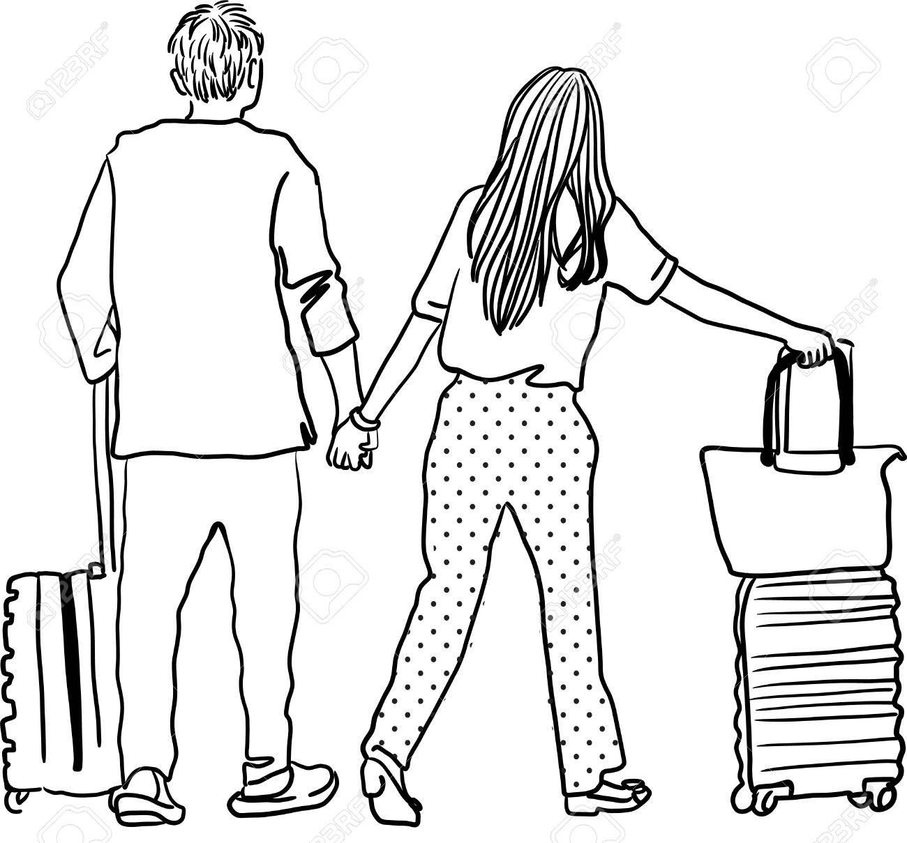 1300x1209 Drawing Of Young Man And Woman Walking At Airport Royalty Free
