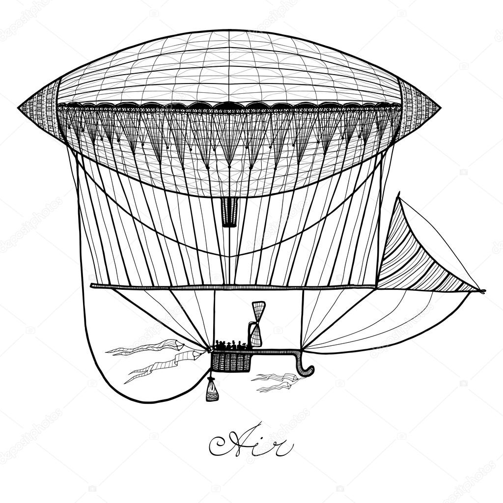 1024x1024 Doodle Airship Illustration Stock Vector Macrovector