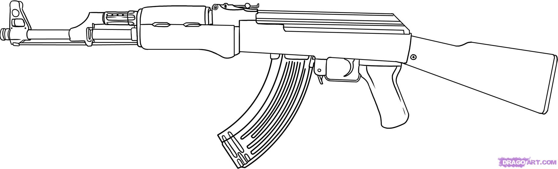 1849x560 How To Draw Ak 47 Machinegun Edrk12 Free Coloring Pages Art