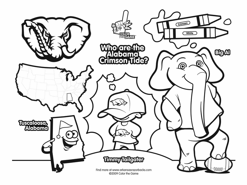 800x600 Alabama Football Coloring Pages In Funny Print Draw Logo
