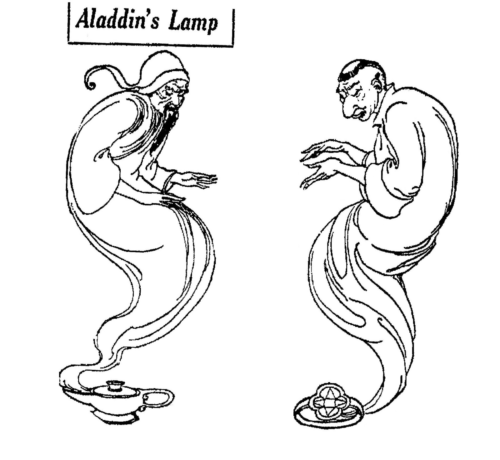 1600x1475 Aladdin's Lamp Paper Doll Cut Outs June 1925 Wonderful Genie