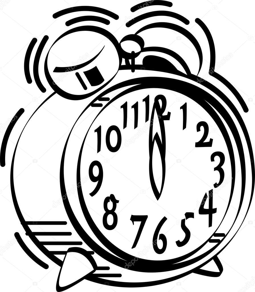 895x1023 Black And White Alarm Clock Ringing