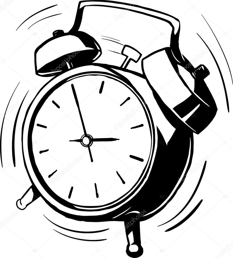 926x1024 Bouncing Alarm Clock With A Ringing Bell Stock Vector