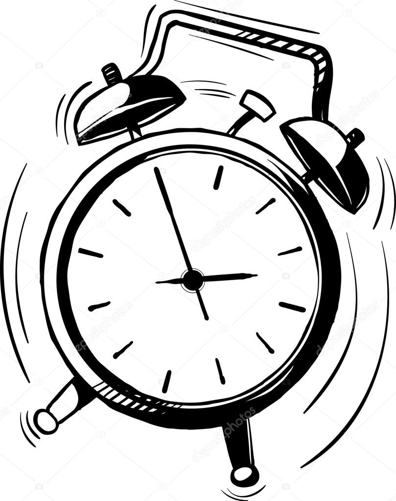 809x1023 Old Fashioned Alarm Clock With Bells Ringing Stock Vector