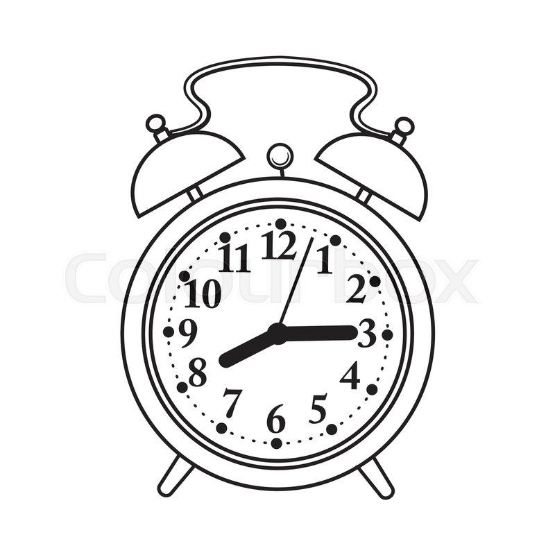 800x800 Retro Style Analog Alarm Clock, Black And White Sketch Style