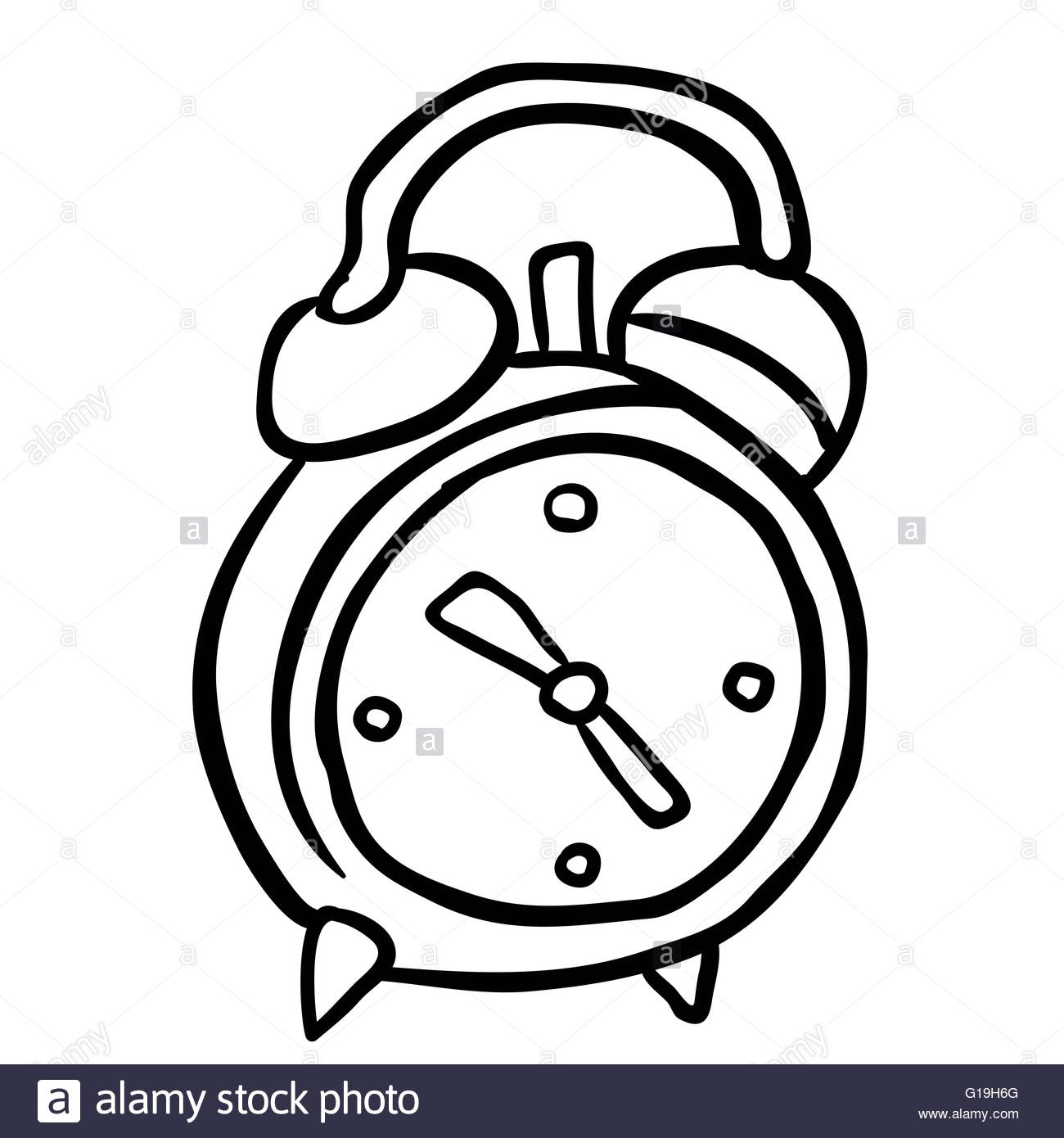 1300x1390 Simple Black And White Alarm Clock Cartoon Stock Vector Art