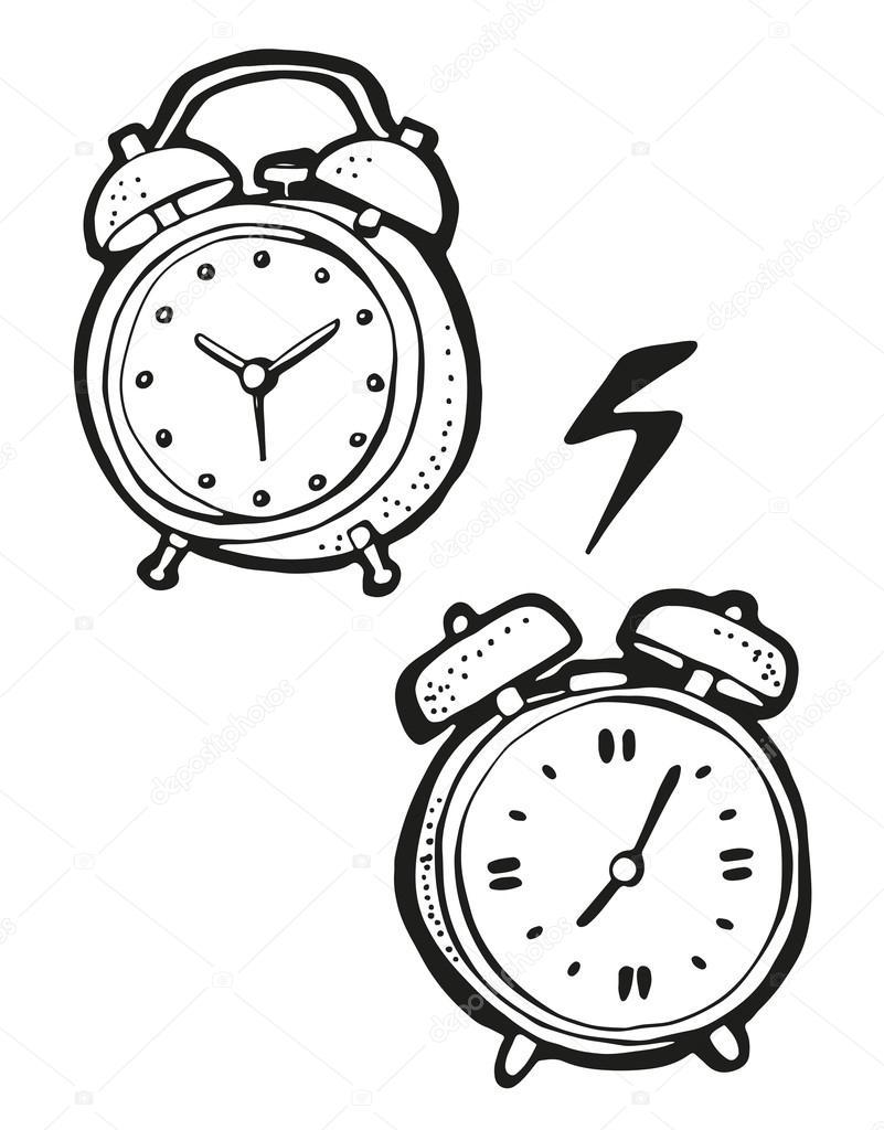 801x1024 Alarm Clock Drawing, Hand Drawn Cartoon Stock Vector Fandorina