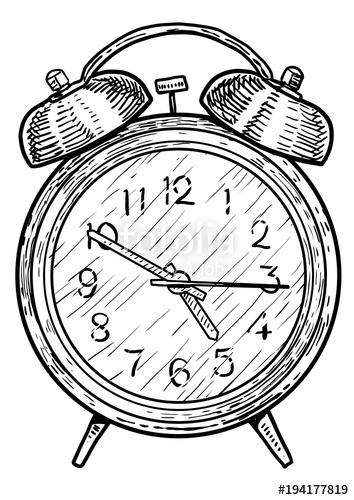 354x500 Alarm Clock Illustration, Drawing, Engraving, Ink, Line Art