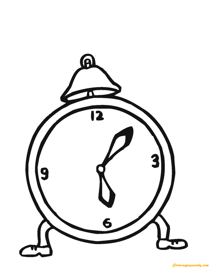 685x886 Charming Alarm Clock Coloring Page
