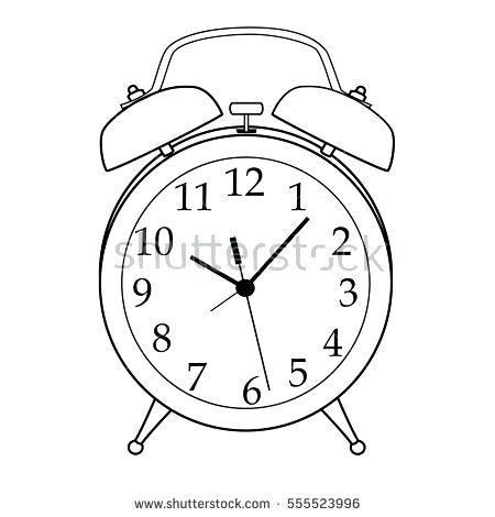 450x470 Drawing Of Wall Clock Illustration Of Isolated Black And White