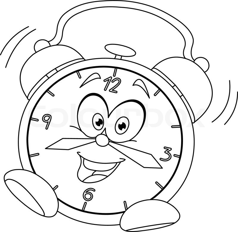 800x781 Outlined Cartoon Alarm Clock. Vector Illustration Coloring Page