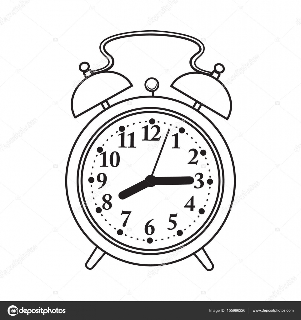 963x1024 Retro Style Analog Alarm Clock, Sketch Vector Illustration Stock