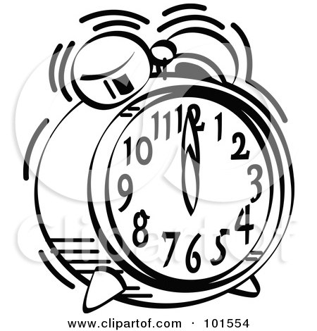 450x470 Royalty Free (Rf) Clipart Illustration Of A Black And White Alarm