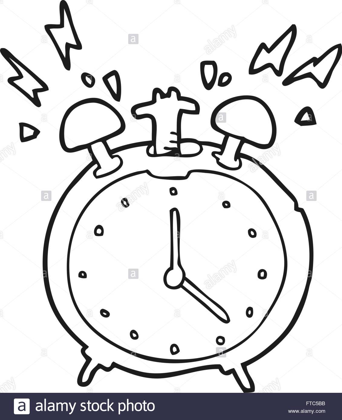 1131x1390 Freehand Drawn Black And White Cartoon Ringing Alarm Clock Stock