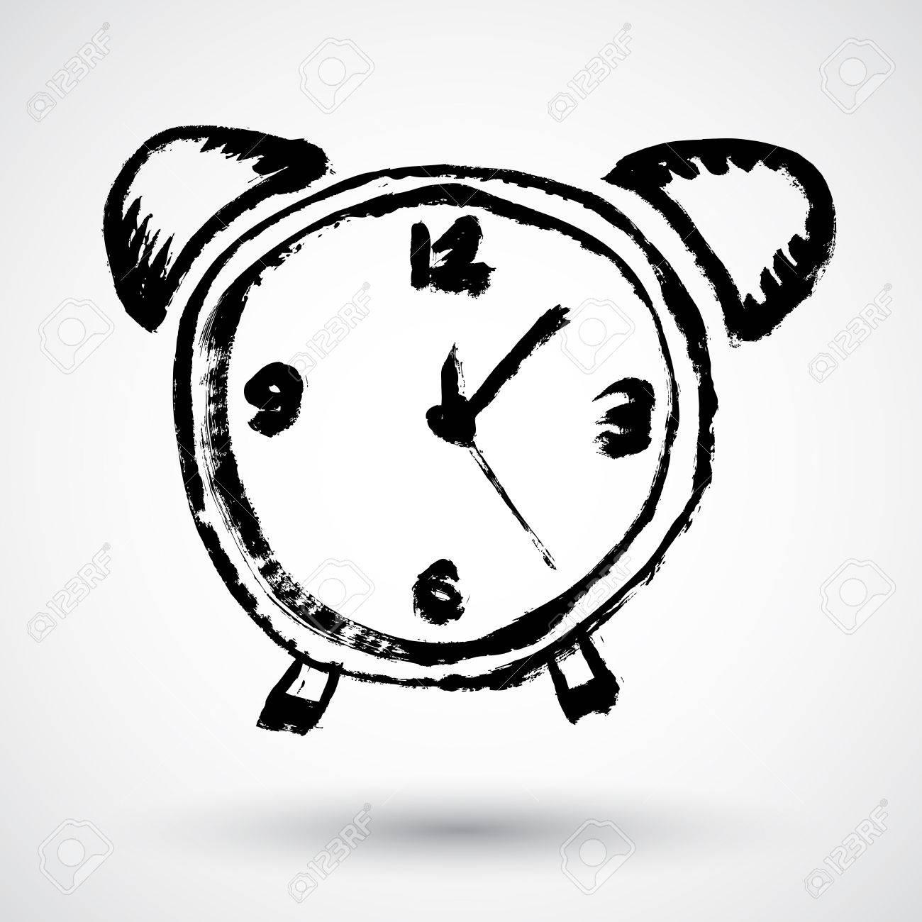1300x1300 Alarm Clock. Sketch Royalty Free Cliparts, Vectors, And Stock