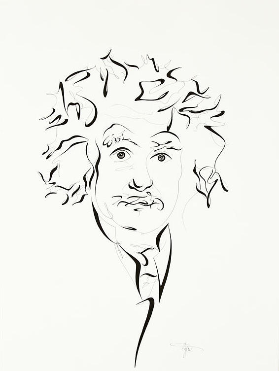 566x753 Albert Einstein Drawing By Michaela Zemlickova