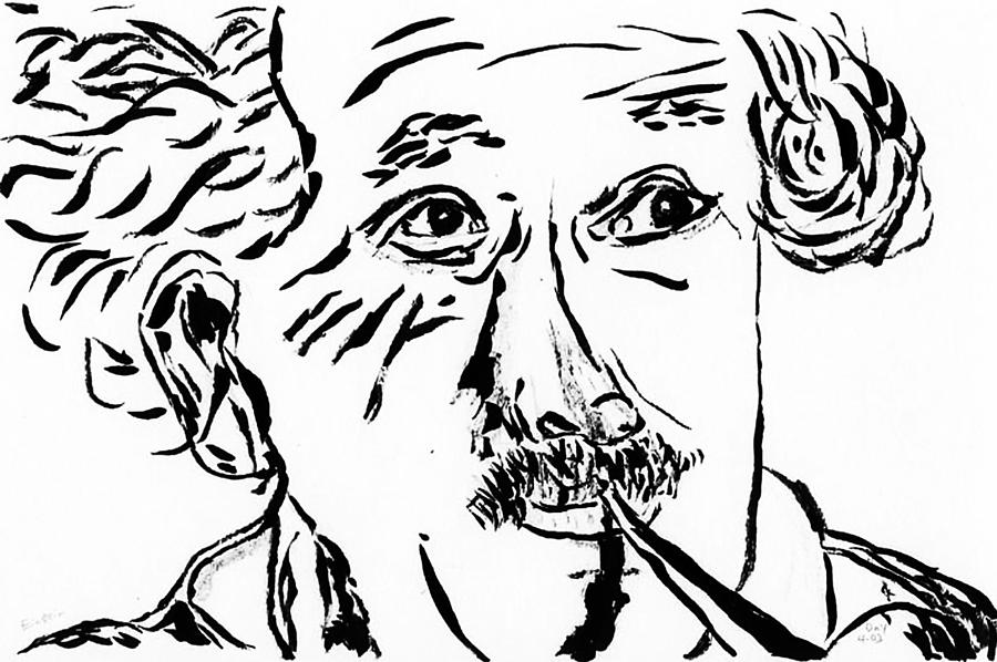 900x598 Einstein Drawing By Day Williams