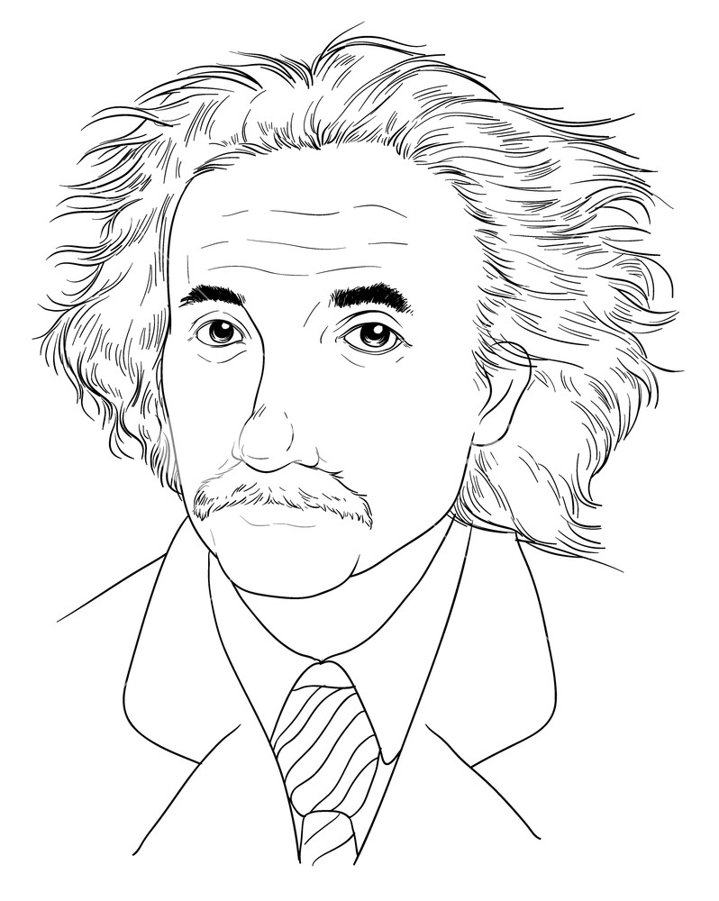 798x1000 Sketch Of Albert Einstein Royalty Free Stock Image
