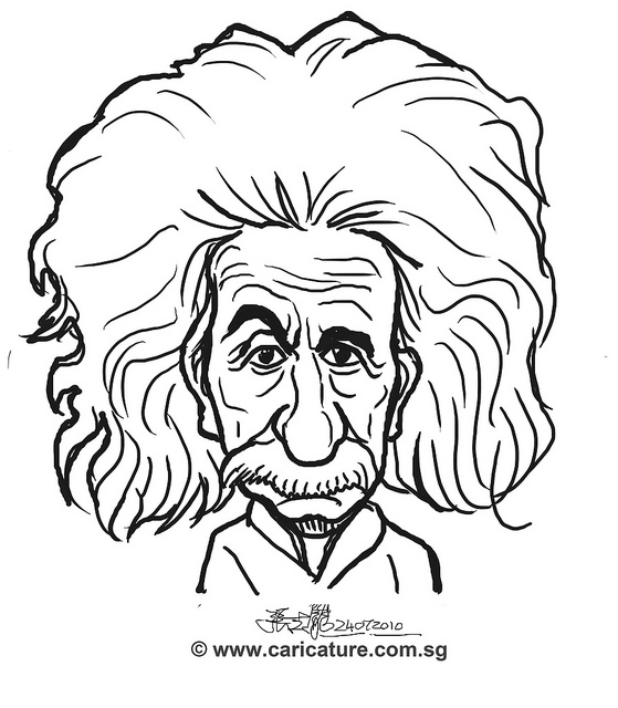 559x640 Digital Caricature Sketch Of Albert Einstein
