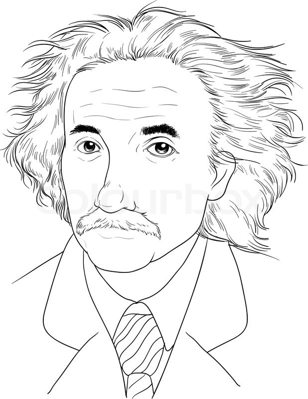 618x800 Sketch Of Albert Einstein Stock Vector Colourbox