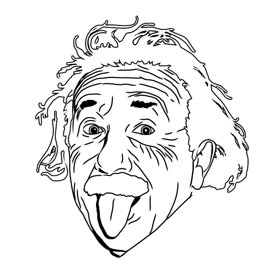 563x564 Einstein Line Drawing