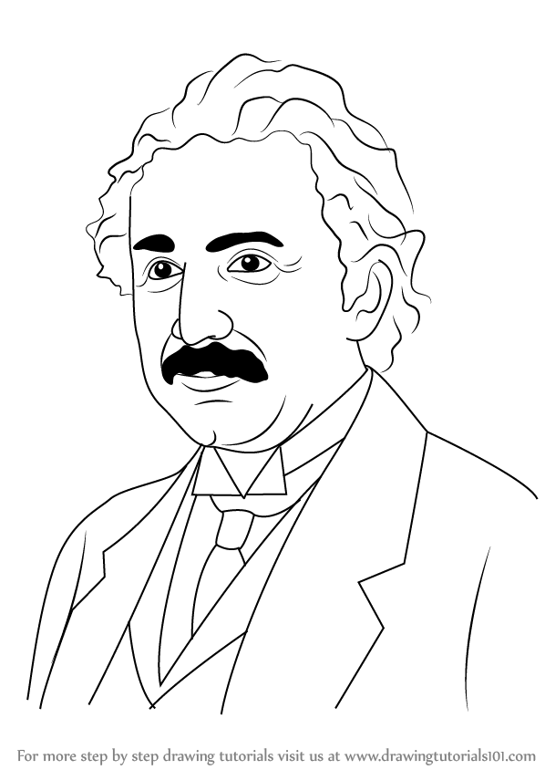 598x844 Learn How To Draw Albert Einstein (Famous People) Step By Step
