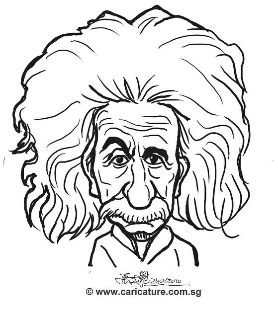 559x640 Digital Caricature Sketch Of Albert Einstein
