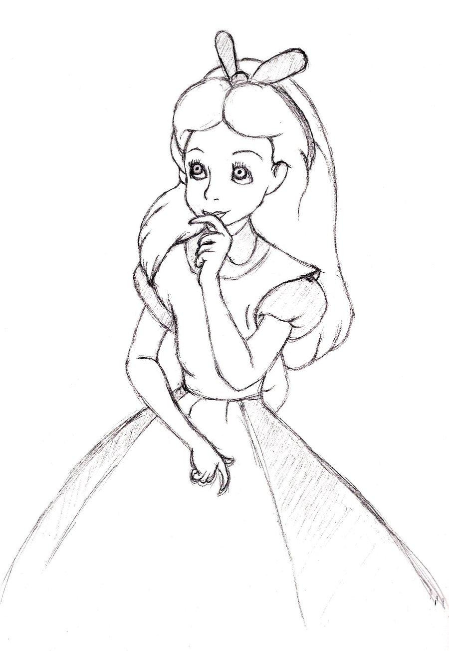 900x1303 Alice In Wonderland Drawing Images Alice In Wonderland Easy