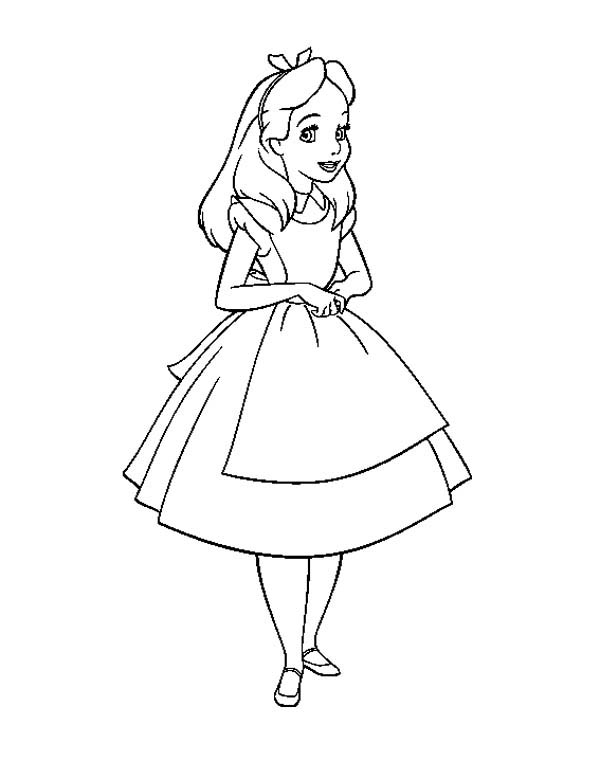 600x761 Alice In Wonderland, Beautiful Alice In Wonderland Coloring Page
