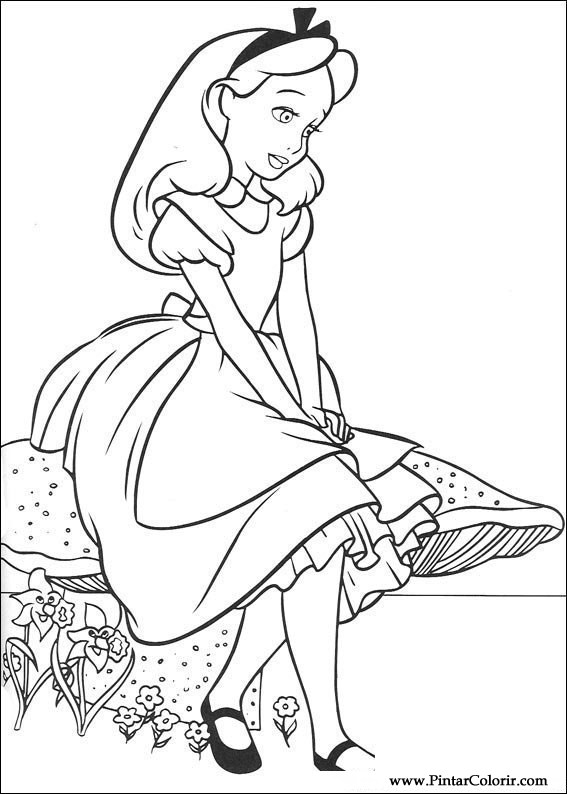 567x794 Drawings To Paint Amp Colour Alice In Wonderland